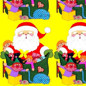 Santa Claus Merry Christmas candy canes sweets gifts presents dolls toys drums elf elves pinwheels cats mice mouse clowns jack box checkered chequered sacks