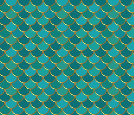 Teal Mermaid Tail 2inch scale fabric by katebillingsley on Spoonflower - custom fabric