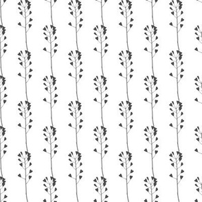 Black and white meadow grass pattern 2