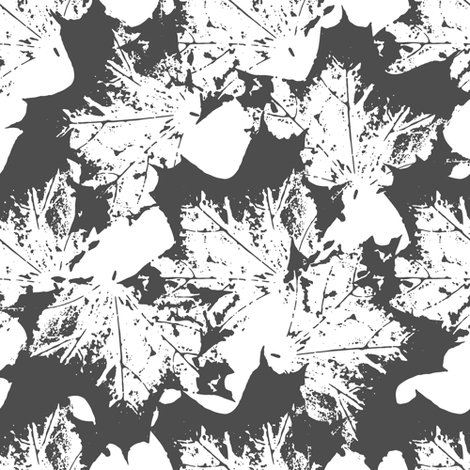 Black and white maple leaves pattern  fabric by nadiashlemina on Spoonflower - custom fabric