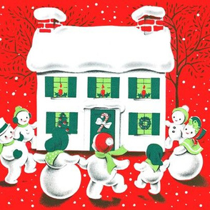 Merry Christmas snow winter trees houses snowman family parents candles mistletoe candy canes wreaths children dancing celebration parents father mother vintage retro kitsch bows ribbons
