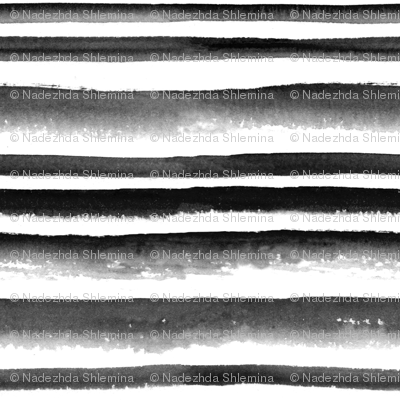 Watercolor Black And White Striped Pattern Fabric