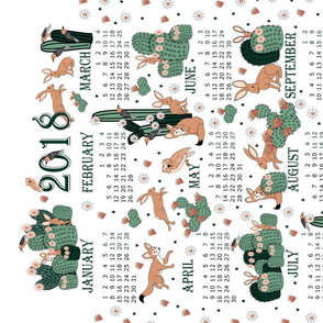2018  calendar fox and rabbit on white