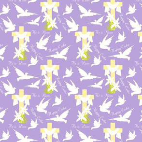 Happy Easter Doves Purple