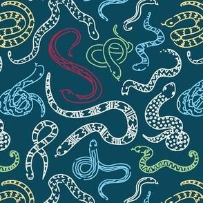 Snake Outlines - Teal