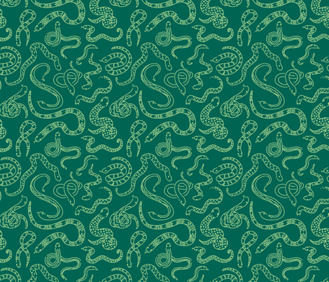 Snake Outlines - Green fabric by electrogiraffe on Spoonflower - custom fabric