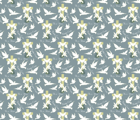Happy Easter Doves blue 2 fabric by pamelachi on Spoonflower - custom fabric