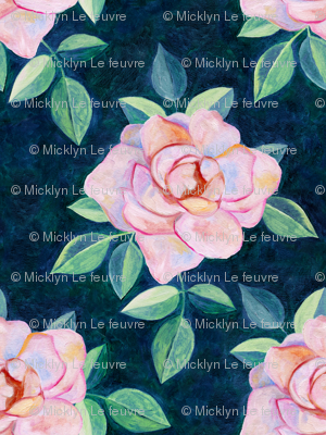 Simple Pink Rose Oil Painting Repeat with Dark Teal Background Small Print