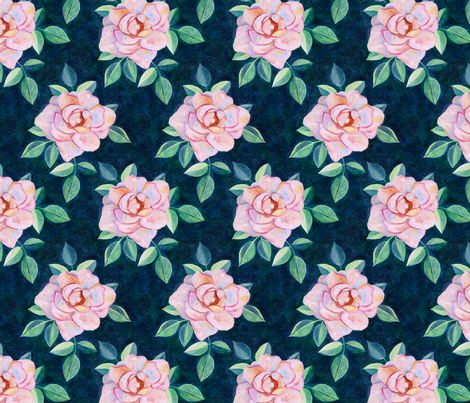 Simple Pink Rose Oil Painting Repeat with Dark Teal Background Small Print fabric by micklyn on Spoonflower - custom fabric