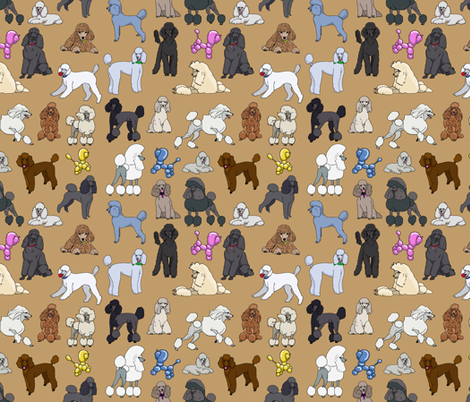 poodles_camel fabric by creativeworksstudios on Spoonflower - custom fabric