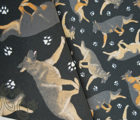 Trotting German Shepherd dogs and paw prints - tiny black