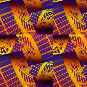 Architectural Lace in Golds & Purple