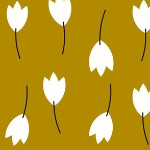 Tulips - black and white on mustard floral flowers || by sunny afternoon