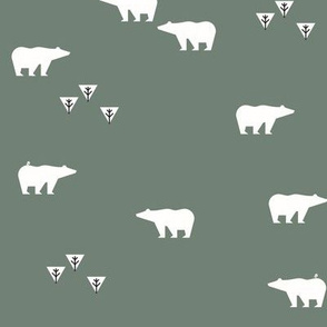 Polar bears - white on smokey green