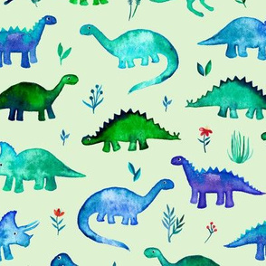 Tiny Dinos on light mint green Large Print