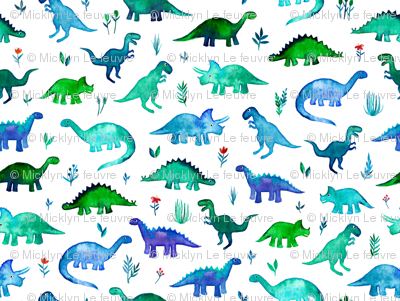 Tiny Dinos in Blue and Green on White Large Print