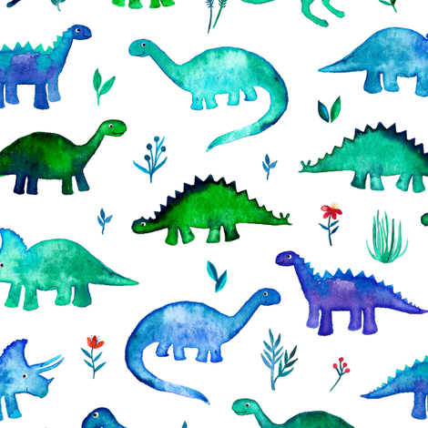 Tiny Dinos in Blue and Green on White Large Print fabric by micklyn on Spoonflower - custom fabric