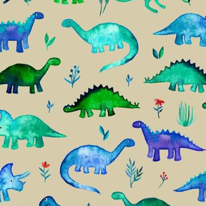 Tiny Dinos in Blue and Green on Tan Large Print
