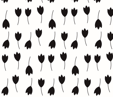 Tulips - monochrome flowers black and white || by sunny afternoon fabric by sunny_afternoon on Spoonflower - custom fabric