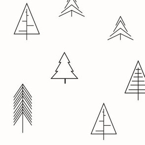 Christmas trees monochrome geometric black and white Scandinavian || by sunny afternoon
