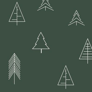 Christmas trees geometric dark green