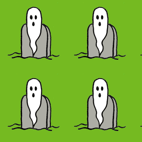 Tombstone Ghost on Green Large - Ghost Night Party fabric by pumpkintreelane on Spoonflower - custom fabric