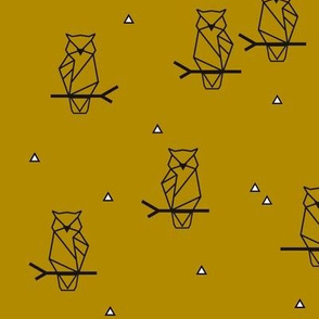 Geometric owls - black on mustard gold night woodland animals birds woods forrest || by sunny afternoon