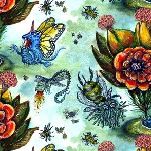 Surreal Watercolor Flowers & Bugs, large scale, green blue