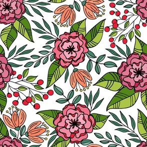 Tropical blooms outline // Hot pink and green shades