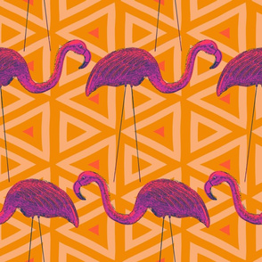 Flamingo Retro on Yellow Triangle Background