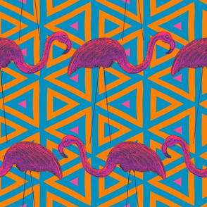 Flamingo Retro on Geometric Background