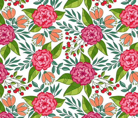 Tropical blooms  // Hot pink and green shades fabric by howjoyful on Spoonflower - custom fabric
