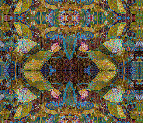 Art Nouveau Lotus Dots  fabric by ciswee on Spoonflower - custom fabric