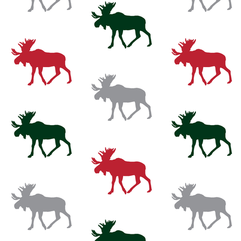 multi moose (small scale) || holiday fabric by littlearrowdesign on Spoonflower - custom fabric