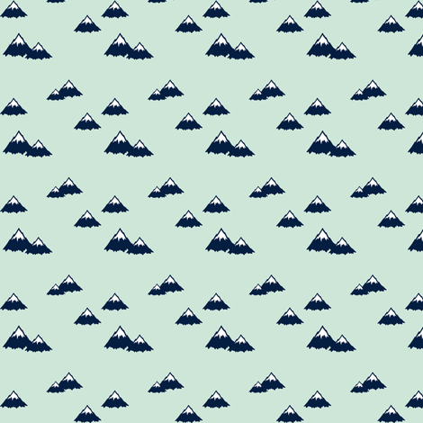 (micro print) mountains (navy on mint) || northern lights collection fabric by littlearrowdesign on Spoonflower - custom fabric