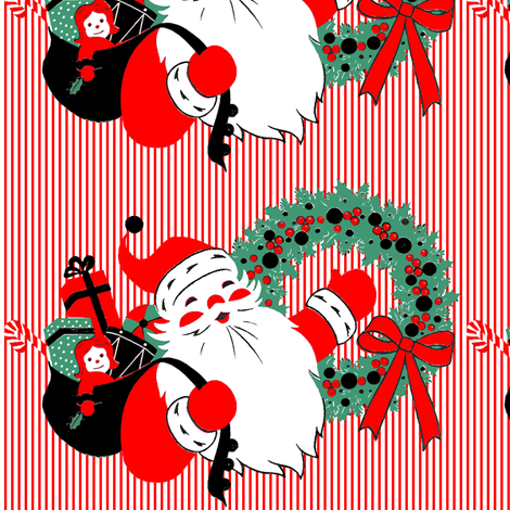 Santa Claus Merry Christmas candy canes sweets gifts presents dolls toys drums balls mistletoe wreaths ribbons stripes bows vintage retro  fabric by raveneve on Spoonflower - custom fabric