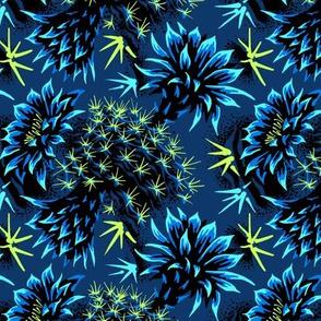 Cactus Floral - Blue/Black/Green