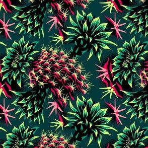 Cactus Floral - Green/Black/Pink