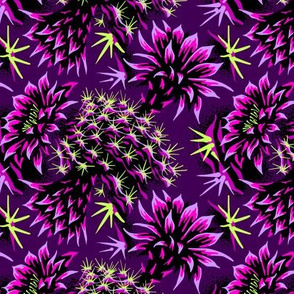 Cactus Floral - Purple/Black-Green