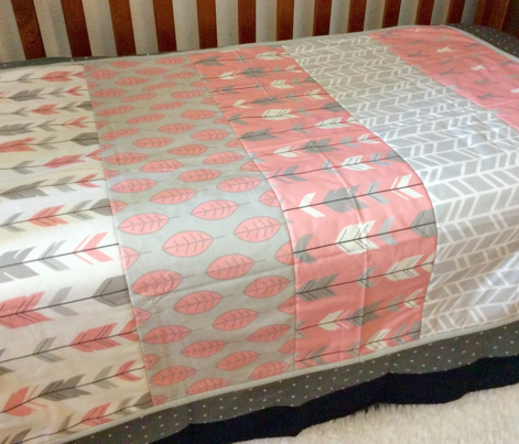 wholecoth quilt - one yard repeat - meadow sunrise - pink deer arrow - baby girl woodland quilt