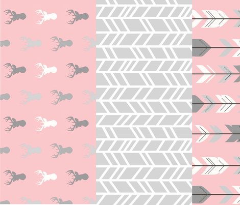 wholecoth quilt - one yard repeat - meadow sunrise - pink deer arrow - baby girl woodland quilt fabric by sugarpinedesign on Spoonflower - custom fabric