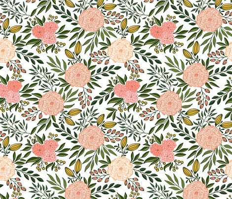 Blooms // Blush and green  fabric by howjoyful on Spoonflower - custom fabric