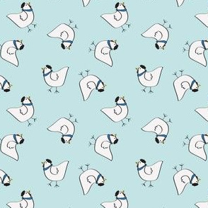 the happy french hen in bakery blue