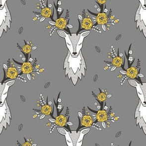 Deer Head on Dark Grey Yellow Flowers