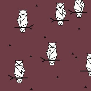 Owls - geometric burgundy red wine woodland animals birds || by sunny afternoon