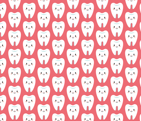 Cute little molar teeth (red) fabric by petitspixels on Spoonflower - custom fabric