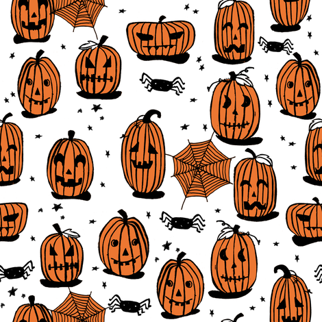 pumpkins // halloween kids cute scary spooky october fall autumn fabric fabric by andrea_lauren on Spoonflower - custom fabric