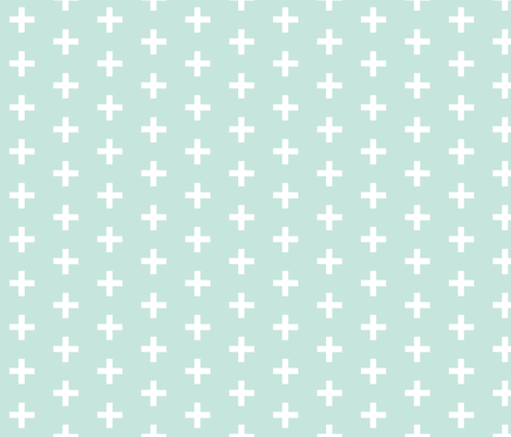 Mint Crosses fabric by sugarpinedesign on Spoonflower - custom fabric