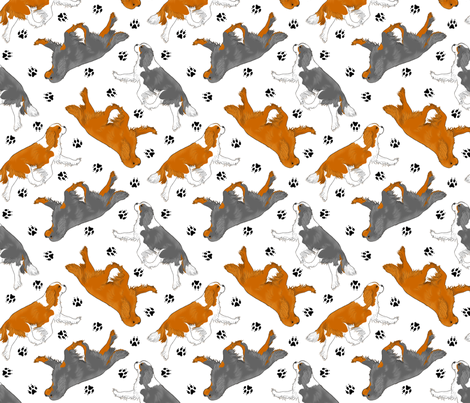 Trotting Cavalier King Charles Spaniels and paw prints - white fabric by rusticcorgi on Spoonflower - custom fabric