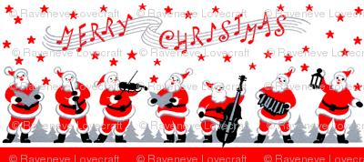 stars Santa Claus Merry Christmas singing carolling carols singing